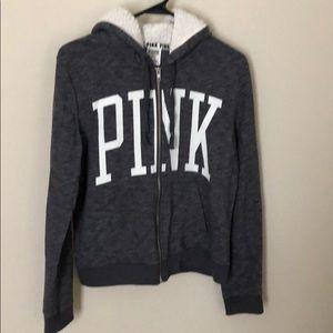 VS pink zip up hoodie.